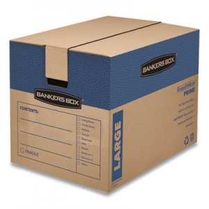 Bankers Box SmoothMove Prime Large Moving Boxes, 24l x 18w x 18h, Kraft/Blue, 6/Carton FEL0062901 0062901