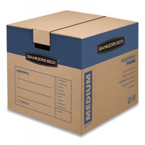 Bankers Box SmoothMove Prime Medium Moving Boxes, 18l x 18w x 16h, Kraft/Blue, 8/Carton FEL0062801 0062801