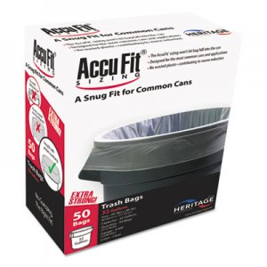 """AccuFit Linear Low Density Can Liners with AccuFit Sizing, 32 gal, 0.9 mil, 33"""" x 44"""", Clear, 50/Box"""