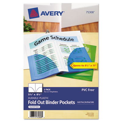 Avery Small Binder Pockets, Fold-Out, 5 1/2 x 9 1/4, Assorted, 3/Pack AVE75308 75308
