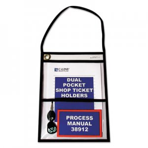 "C-Line Stitched Shop Ticket Holders with 150"" Strap, Clear/Black, 9 x 12, 15/BX CLI38912 38912"