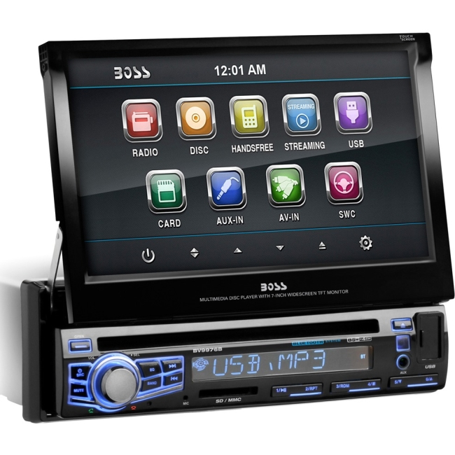 "Boss Audio In-Dash Single-DIN 7"" Motorized Touchscreen Monitor Bluetooth DVD Player BV9976B"