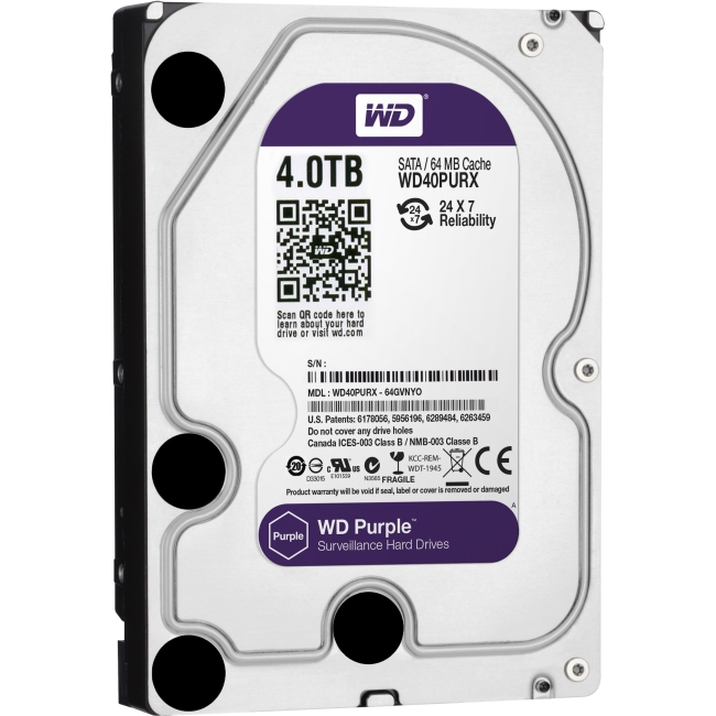 Western Digital Purple 4TB SATA 6 Gb/s, 3.5-inch Surveillance Hard Drive WD40PURX