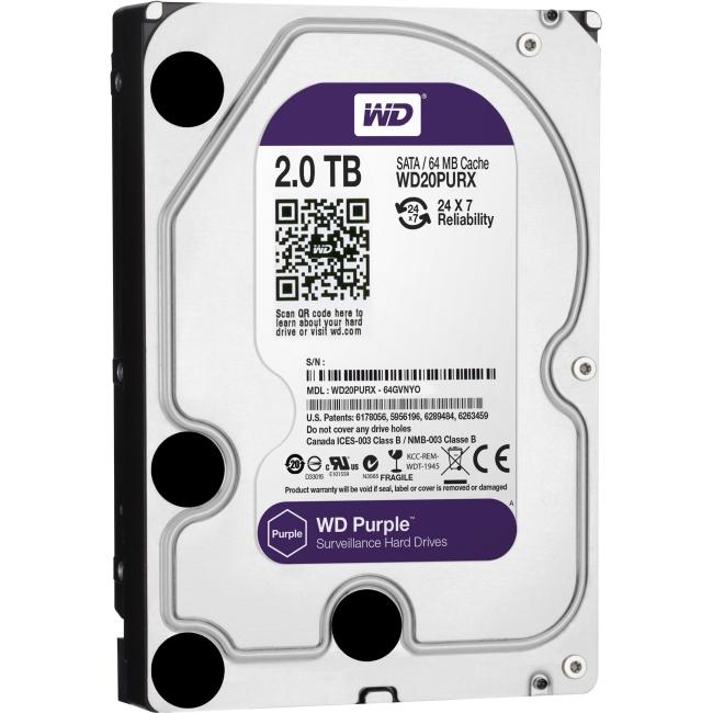 Western Digital Purple 2TB SATA 6 Gb/s, 3.5-inch Surveillance Hard Drive WD20PURX