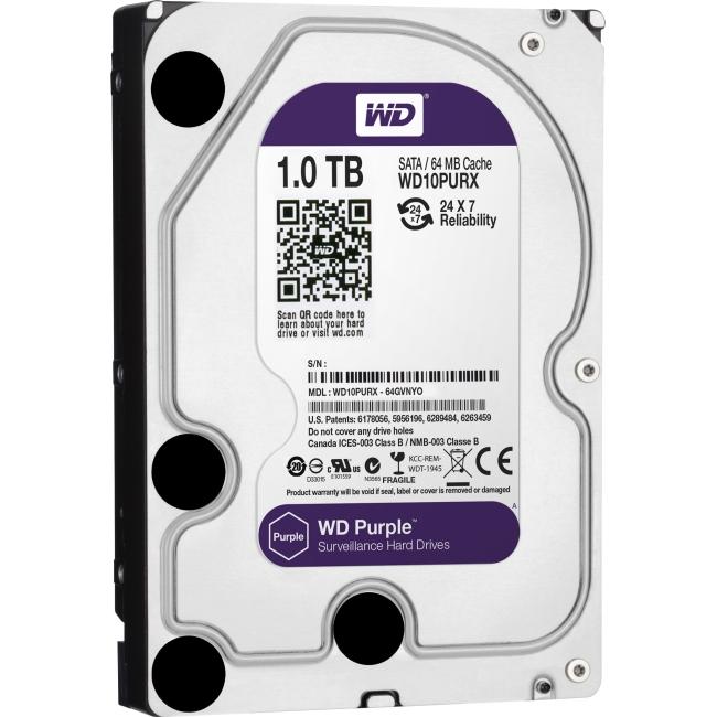 Western Digital Purple 1TB SATA 6 Gb/s, 3.5-inch Surveillance Hard Drive WD10PURX