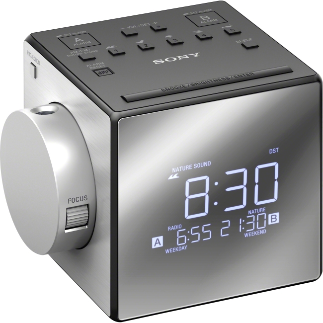 Sony Alarm Clock Radio with Time Projection ICFC1PJ