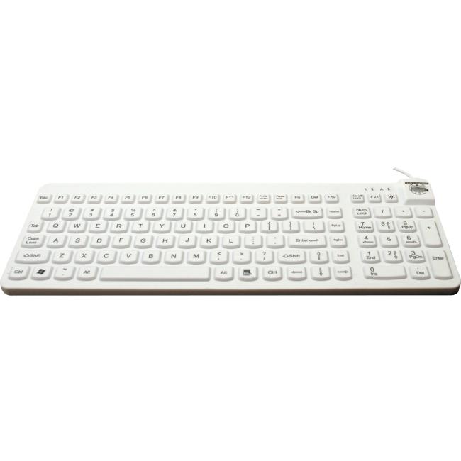 Man & Machine Premium Full Size Waterproof Disinfectable Keyboard RCLP/BKL/W5-LT