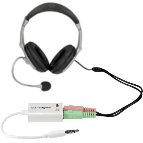 StarTech.com 3.5mm 4 Position to 2x 3 Position 3.5mm Headset Splitter Adapter M/F - White MUYHSMFFADW