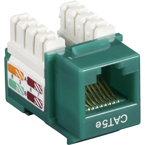 Black Box CAT5e Value Line Keystone Jack, Green, 25-Pack CAT5EJ-GN-25PAK