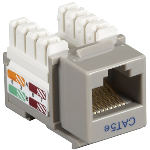 Black Box CAT5e Value Line Keystone Jack, Gray, 5-Pack CAT5EJ-GY-5PAK