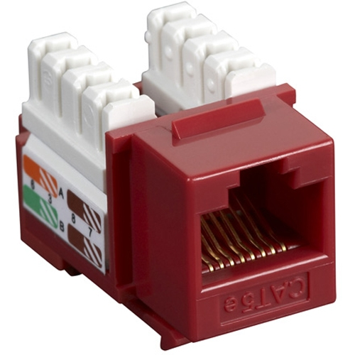 Black Box CAT5e Value Line Keystone Jack, Red, 5-Pack CAT5EJ-RD-5PAK