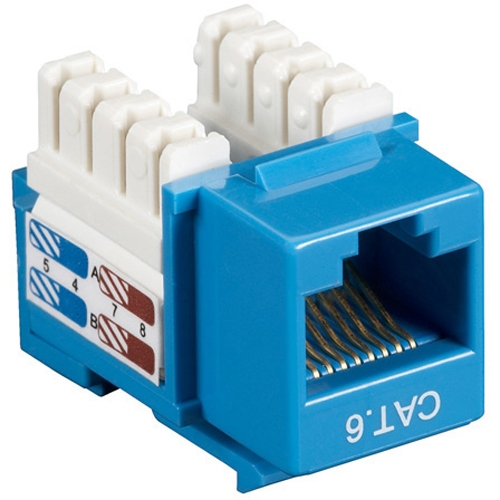 Black Box CAT6 Value Line Keystone Jack, Blue, 10-Pack CAT6J-BL-10PAK