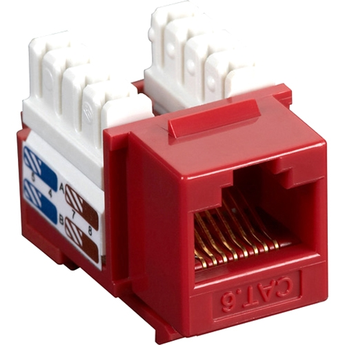 Black Box CAT6 Value Line Keystone Jack, Red, 25-Pack CAT6J-RD-25PAK