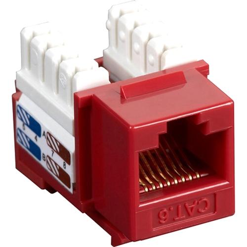 Black Box CAT6 Value Line Keystone Jack, Red, 5-Pack CAT6J-RD-5PAK