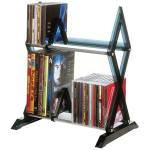 Atlantic Mitsu 2 Tier Media Rack For 52 CDs Or 36 DVDs And Bluray In Smoke 64835193
