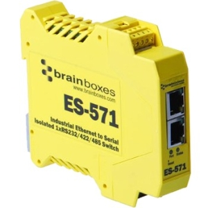 Brainboxes Es-571 Industrial Isolated Ethernet to Serial + Switch ES-571