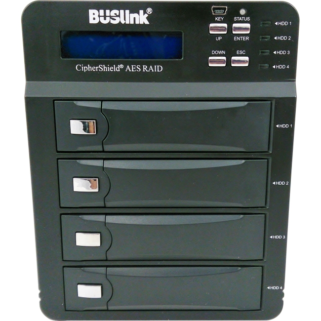 Buslink CipherShield FIPS 140-2 4-bay USB 3.0 eSATA AES 256-bit Encrypted External Drive CSE-16TB4-SU3
