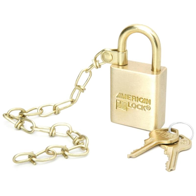 SKILCRAFT SKILCRAFT SKILCRAFT Solid Brass Case Padlock w/Chain 5340015881819 NSN5881819