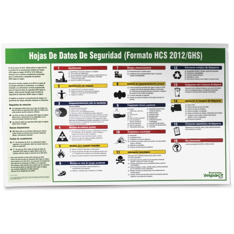 Impact Products Safety Data Sheet Spanish Poster 799073 IMP799073