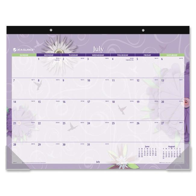 At-A-Glance Paper Flowers Academic Calendar Desk Pad 5035A AAG5035A