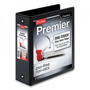 "Cardinal Premier Easy Open ClearVue Locking Round Ring Binder, 3 Rings, 3"" Capacity, 11 x 8.5, Black CRD11131 11131CB"