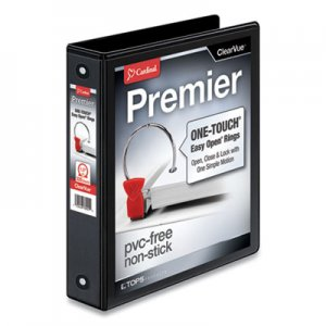 "Cardinal Premier Easy Open ClearVue Locking Round Ring Binder, 3 Rings, 1.5"" Capacity, 11 x 8.5, Black CRD11111"