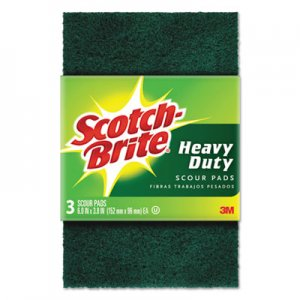 "Scotch-Brite Heavy-Duty Scour Pad, 3 4/5"" x 6"", Green, 3/Pack MMM22310 223"