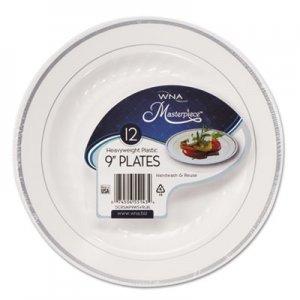 "WNA Masterpiece Plastic Dinnerware, White/Silver, 9"", 10/Pack WNARSM91210WSPK RSMP91210WSLV"