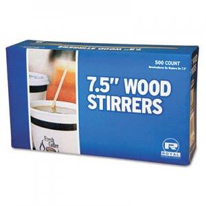 "AmerCareRoyal Wood Coffee Stirrers, 7 1/2"" Long, Woodgrain, 500 Stirrers/Box, 10 Boxes/Carton RPPR825CT RPP R825"