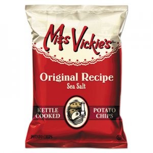 Miss Vickie's Kettle Cooked Sea Salt Potato Chips, 1.38 oz Bag, 64/Carton LAY44443 44443