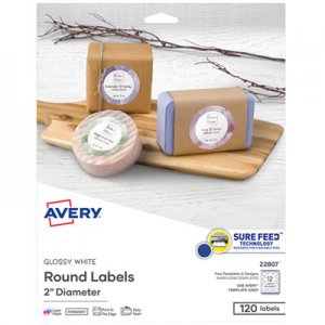 "Avery Round Print-to-the Edge Labels with Sure Feed and Easy Peel, 2"" dia, Glossy White, 120/PK AVE22807"
