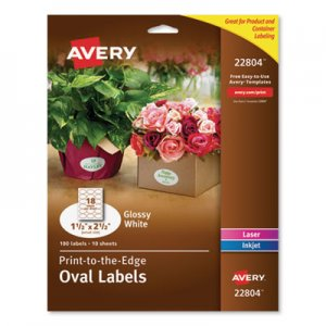 Avery Oval Labels w/ Sure Feed & Easy Peel, 1 1/2 x 2 1/2, Glossy White, 180/Pack AVE22804