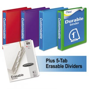 "Mead Durable D-Ring View Binder Plus Pack, 3 Rings, 1"" Capacity, 11 x 8.5, Assorted, 4/Carton MEA66514AU"