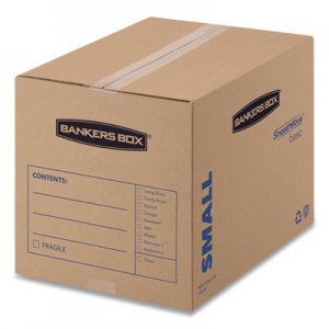 "Bankers Box SmoothMove Basic Moving Boxes, Small, Regular Slotted Container (RSC), 16"" x 12"" x 12"", Brown Kraft/Blue, 25"