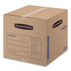 "Bankers Box SmoothMove Basic Moving Boxes, Medium, Regular Slotted Container (RSC), 18"" x 18"" x 16"", Brown Kraft/Blue, 20"