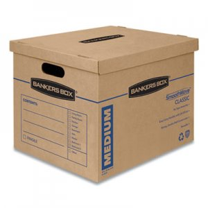 Bankers Box SmoothMove Classic Medium Moving Boxes, 18l x 15w x 14h, Kraft/Blue, 8/Carton FEL7717201 7717201
