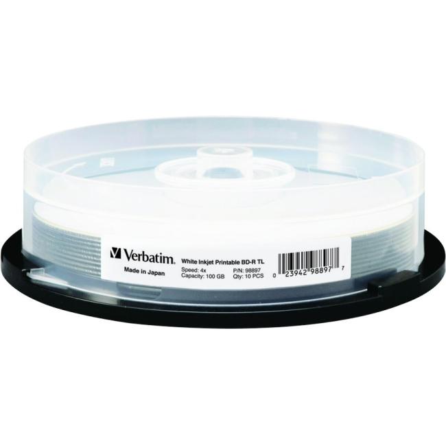 Verbatim BD-R TL 100GB 4X White Inkjet Printable, Hub Printable - 10pk Spindle 98897