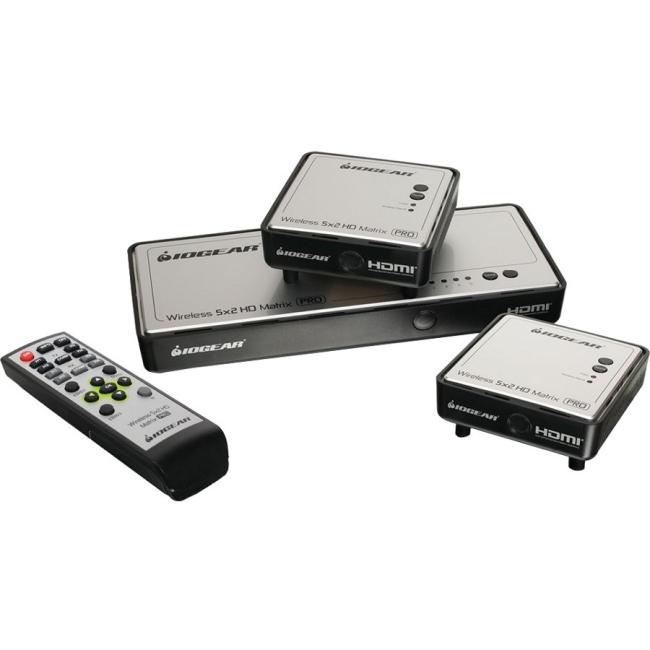 Iogear Long Range Wireless 5x2 HDMI Matrix PRO with 1 Additional Receiver GWHDMS52MBK2