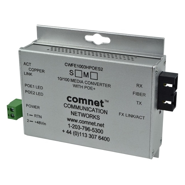 ComNet Commercial Grade 100Mbps Media Converter with 48V POE, Mini CWFE1005POEM/M