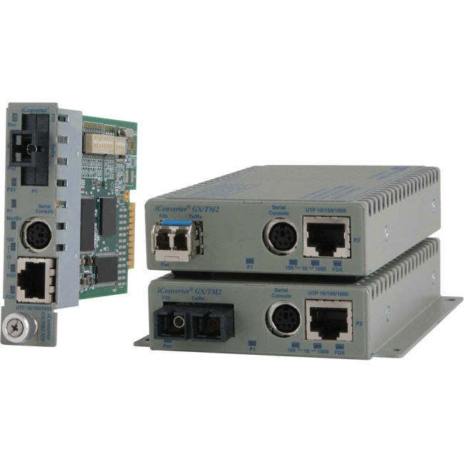 Omnitron 10/100/1000BASE-T UTP to 1000BASE-X Media Converter and Network Interface Device 8920N-0-W GX/TM2