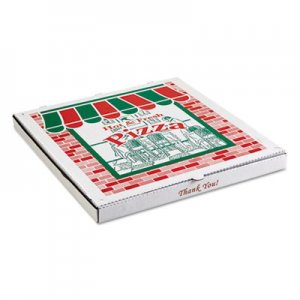 PIZZA Box Takeout Containers, 14in Pizza, White, 14w x 14d x 2 1/2h, 50/Bundle BOXPZCORB14 BOX PZCORB14