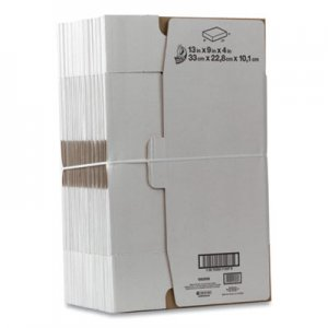 "Duck Self-Locking Mailing Box, Regular Slotted Container (RSC), 13"" x 9"" x 4"", White, 25/Pack DUC1147639 1147639"