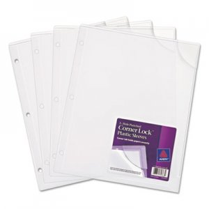 Avery Three-Hole Punched Corner Lock Plastic Sleeves, 11 3/4 x 9 1/2, Clear, 4/Pack AVE72269 72269