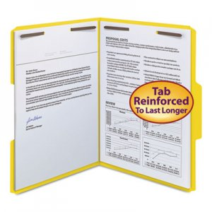 Smead WaterShed/CutLess Reinforced Top Tab 2-Fastener Folders, 1/3-Cut Tabs, Letter Size, Yellow, 50/Box SMD12942 12942