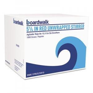 "Boardwalk Single-Tube Stir-Straws, 5 1/4"", Red, 1000/Pack BWKSTRU525R10PK"