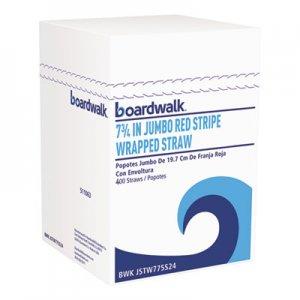 "Boardwalk Jumbo Straws, 7 3/4"", Plastic, Red w/White Stripe, 500/Pack BWKJSTW775S24PK"