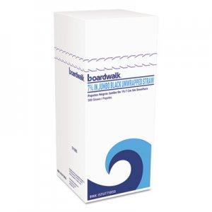 """Boardwalk Jumbo Straws, 7 3/4"""", Plastic, Black, Unwrapped, 250/Pack, 50 Pack/Carton BWKJSTU775B50"""