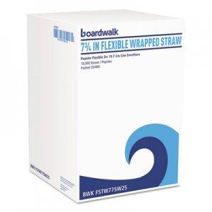 "Boardwalk Flexible Wrapped Straws, 7 3/4"", White, 500/Pack, 20 Packs/Carton BWKFSTW775W25"