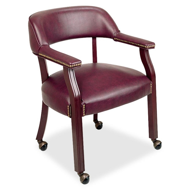 Lorell Traditional Captain Side Chair With Casters 60601 LLR60601