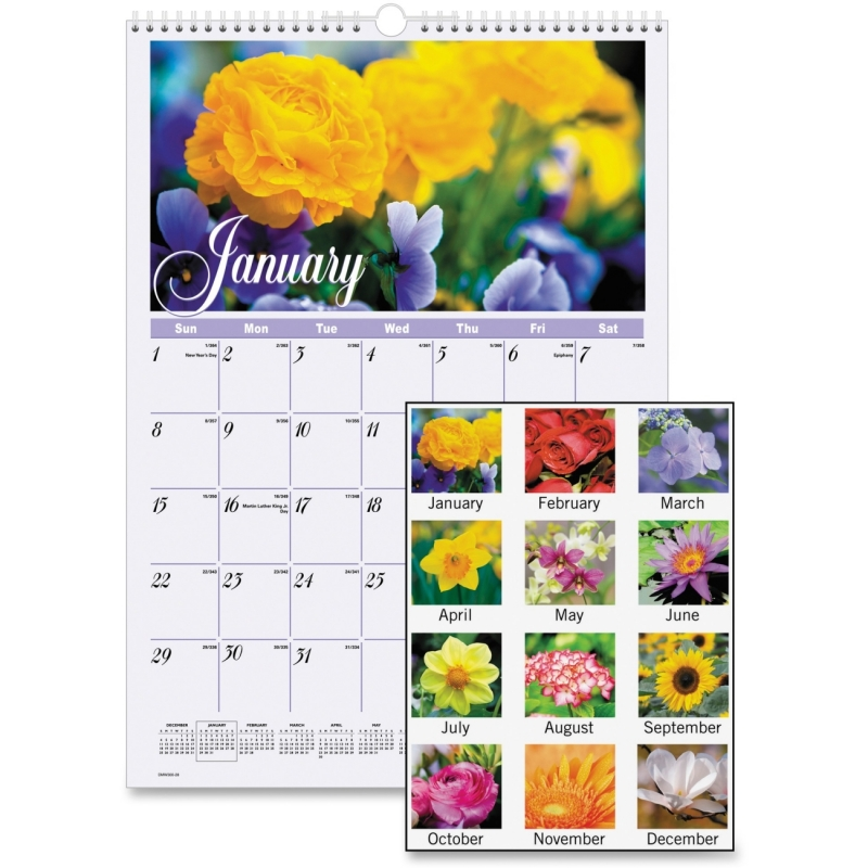 At-A-Glance Flower Garden Monthly Wall Calendar DMW30028 AAGDMW30028